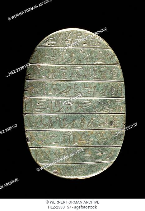 Green stone heart scarab, Ancient Egyptian, New Kingdom, c1300-1100 BC. Inscribed for Hat, with a text from chapter 30 of the Book of the Dead