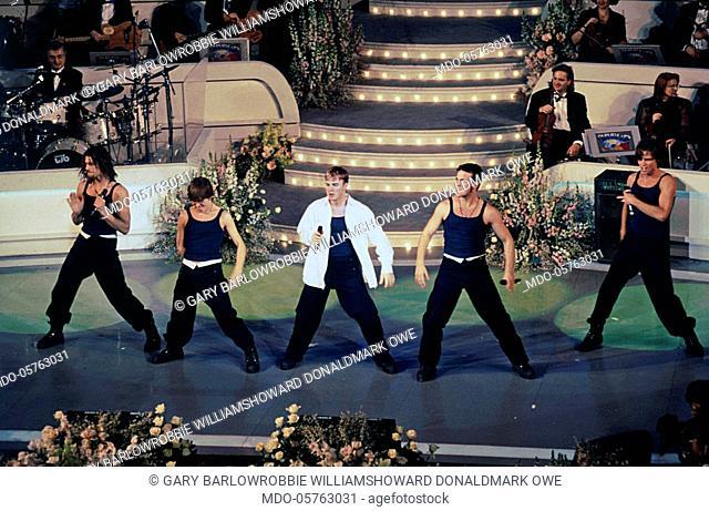 British band Take That (Gary Barlow, Robbie Williams, Howard Donald, Mark Owen and Jason Orange) at the 45th Sanremo Music Festival. Sanremo, 1995