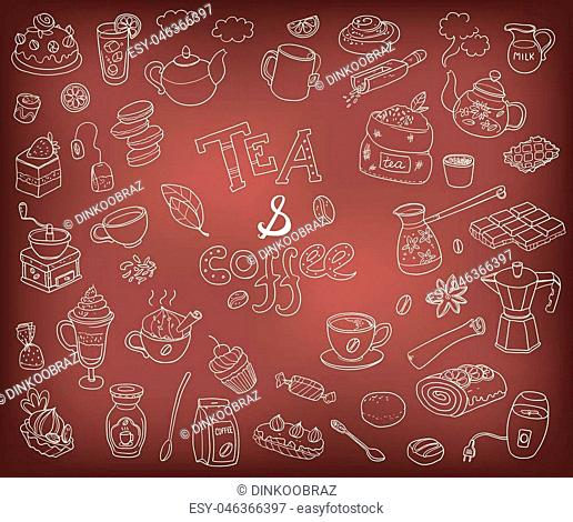 Big vector collection of doodle tae and coffee. Equipment and dessert, spoon, sweets, cake, cup, teapot, bakery and cookery. Outline on the chalkboard