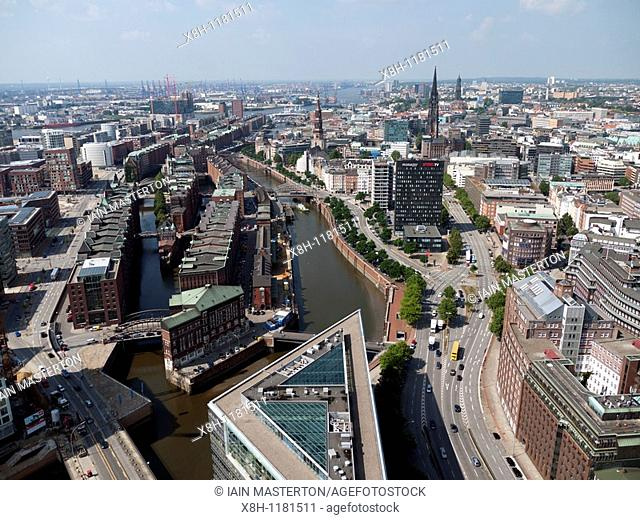 Cityscape of historic Speicherstadt and city of Hamburg Germany