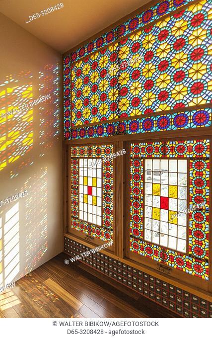 Azerbaijan, Sheki, Winter Palace, 18th century, traditional stained glass window