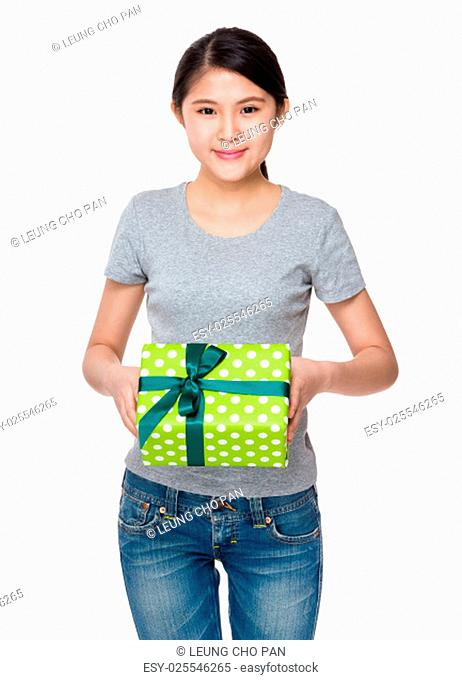 Young student hold a present box