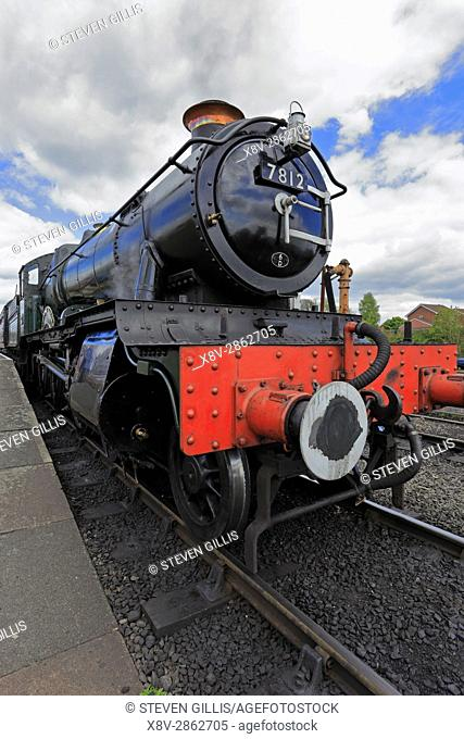 Steam locomotive No. 7812 at Kidderminster Railway Station on the Severn Valley Railway, Kidderminster, Shropshire, England, UK