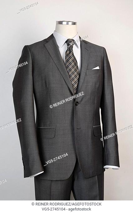 taylored menswear suit. On a mannequin