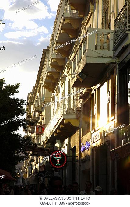 Africa, North Africa, Tunisia, Tunis, Buildings Lining Avenue Habib Bourguiba, French Colonial Architecture