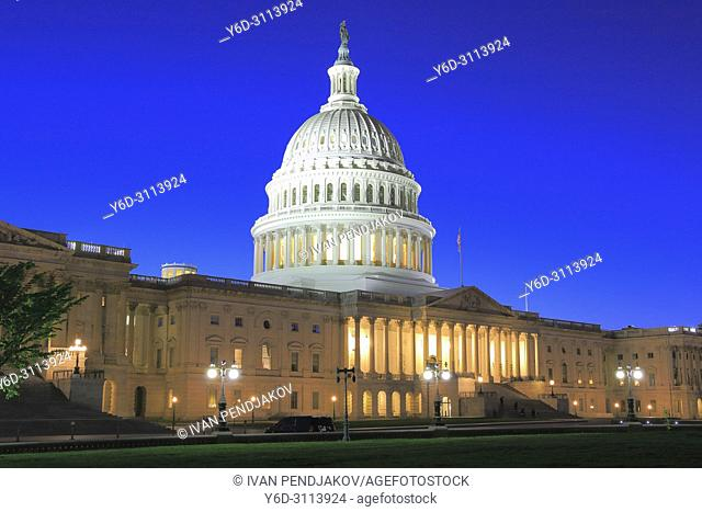 The United States Capitol in the Evening, Washington D. C. , USA