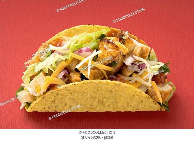 Chicken taco red background