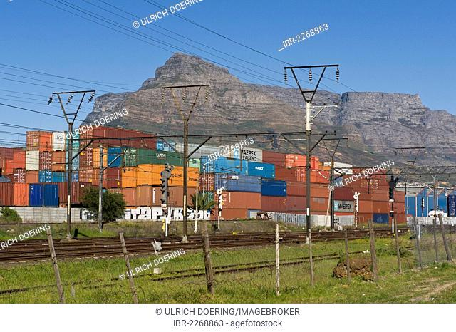 Container terminal and railway track, Table Mountain at back, Cape Town, South Africa, Africa