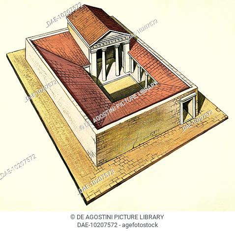 Villa with peristyle and banquet hall, Athens, Greece, drawing, Greek civilization, 5th century BC