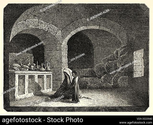 Mar-gorgeous cave near Djebel. Syria, Syrian Arab Republic. Middle East, Old 19th century engraved illustration, Le Tour du Monde 1863