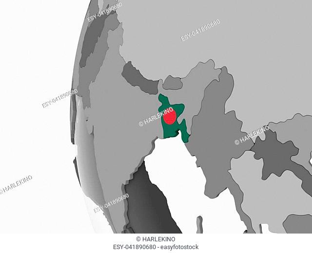 Bangladesh on gray political globe with embedded flag. 3D illustration