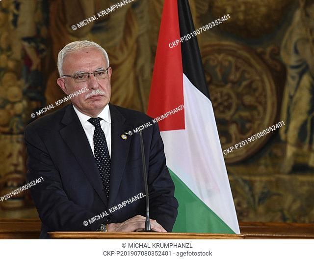 Palestinian Foreign Affairs Minister Riyad al-Maliki speaks during a press conference after meeting with his Czech counterpart Tomas Petricek, in Prague