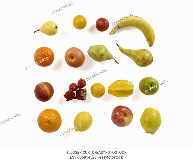 Big collection of vegetables and fruits. Healthy food, white