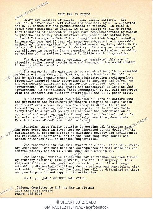 """A Vietnam War era leaflet from The Chicago Committee to End the War in Vietnam titled """"""""Viet Nam is Dying!"""""""" advocating for citizen's to educate themselves and..."""