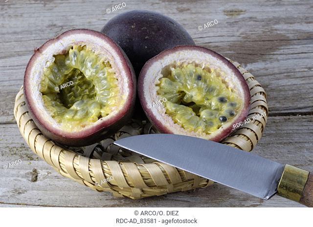 Knife and Passion fruits Passiflora spp. Granadilla