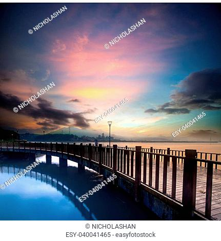 beautiful sunset with a bridge over for adv or others purpose use
