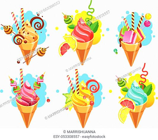 Set of ice cream cones of whipped cream of different color and taste pieces of candy filled with sweets marshmallows, straws, isolated on white background