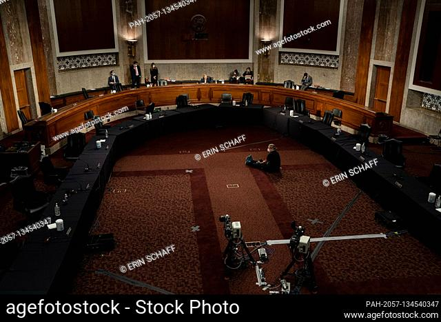 United States Senator Lindsey Graham (Republican of South Carolina), Chairman, US Senate Judiciary Committee gives closing remarks to an empty room at the...