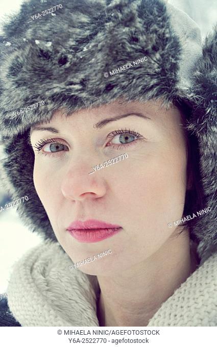 Serious mid adult woman portrait, winter