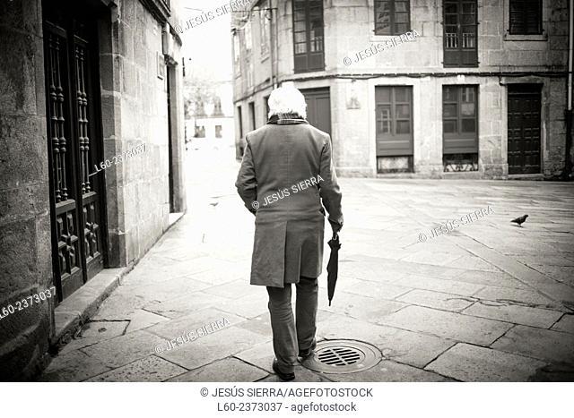 Lonely man. Santiago de Compostela. Galicia. Spain