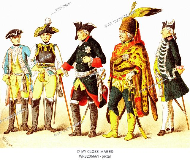 The Figures represented here are all Germans in 1700s and are, from left to right: an officer of dragoons, general of cuirrasiers, Frederick II, General Ziethen