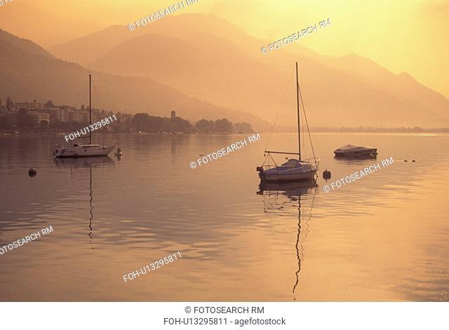Switzerland, Ticino, Locarno, Scenic view of Lake Maggiore along the city of Locarno
