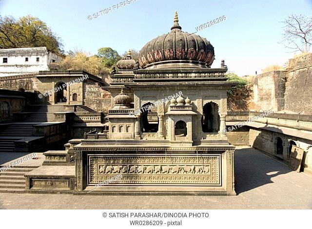 Beautifully constructed chhatri in Maheshwar temple compound on bank of Narmada river , Madhya Pradesh , India