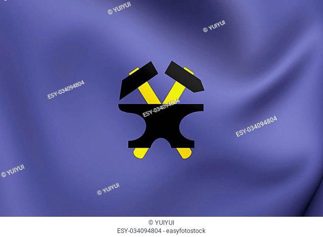 Flag of Starachowice, Poland. Close Up