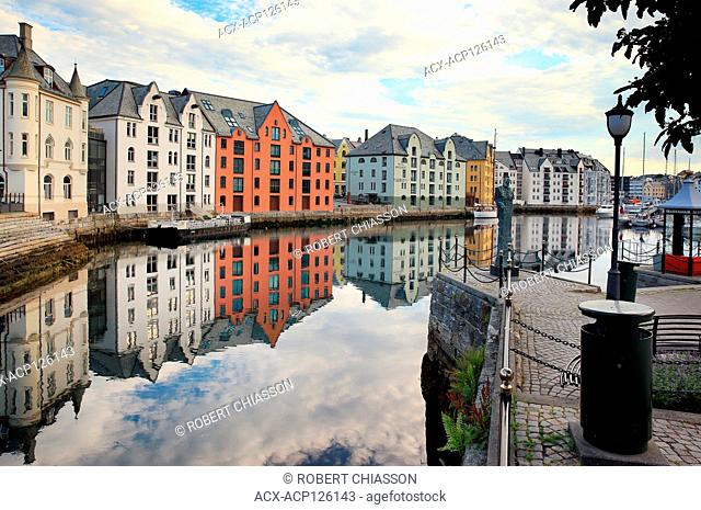 Alesundet canal and surrounding Art Nouveau buildings as seen from Hellebroa bridge in Alesund, Norway