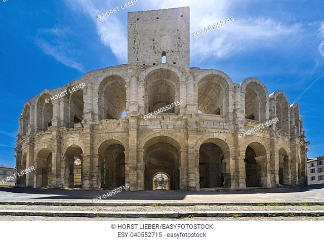 Roman amphitheater in historic city center of Arles. Buches du Rhone, Provence, France, Europe