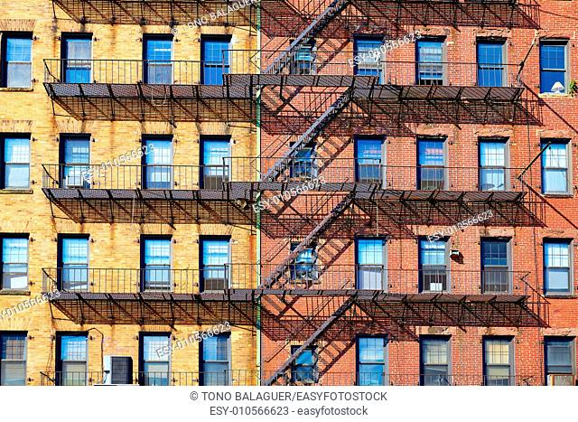 Boston traditional brick wall building facades in Cross St Massachusetts USA