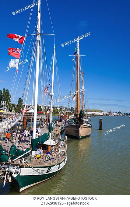 Sailing boats open for inspection on Canada Day 2017 at Steveston near Vancouver