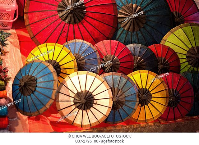 Umbrellas for sale at Luang Phrabang night market. Laos
