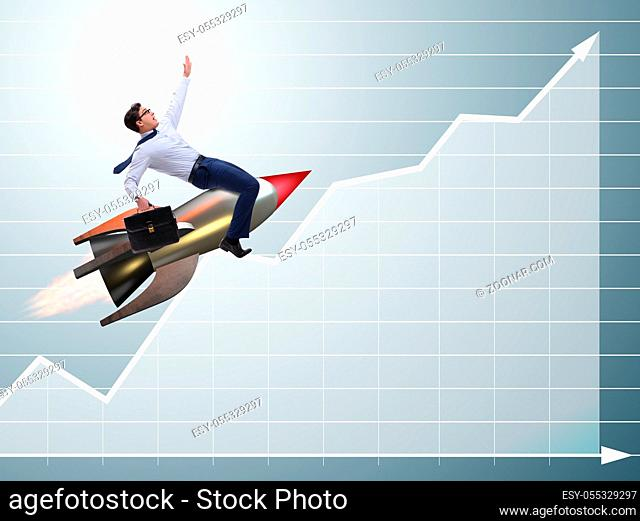 The businessman flying on rocket in business concept