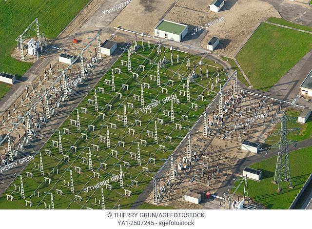France, Bas Rhin 67, Strasbourg town, Illkirch-Graffenstaden area, electricity high voltage dispatching aerial view