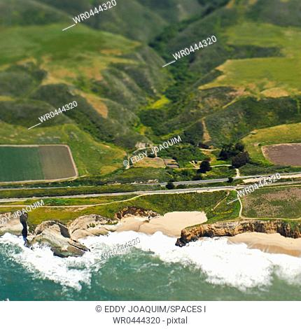 Aerial View of a Coastal Road and Valley