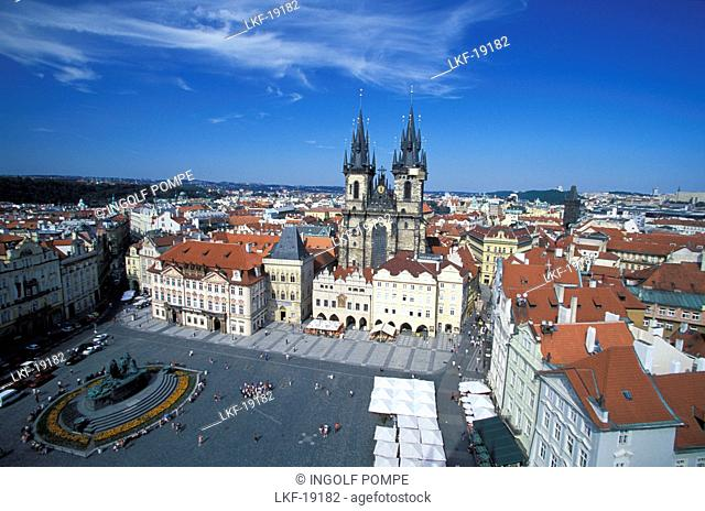 Aerial view of Old Town Square with Tyn Church, Prague, Czechia, Europe