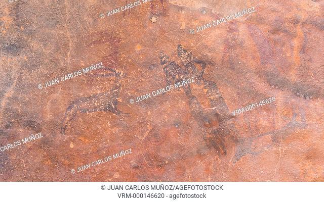 Rock art, La Roca dels Moros, Set Vally, El Cogul, Les Garrigues, Lleida, Catalunya, Spain