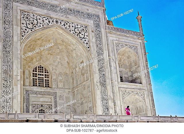 Wonder world Taj Mahal Heritage site Agra Ancient arch artist artistic beautiful blue sky close ups close-ups Color constructed 1631 A.D -1648 A