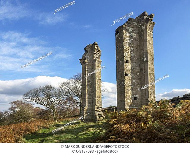 Yorkes Folly or Two Stoops in autumn on Guise Cliff near Pateley Bridge North Yorkshire England