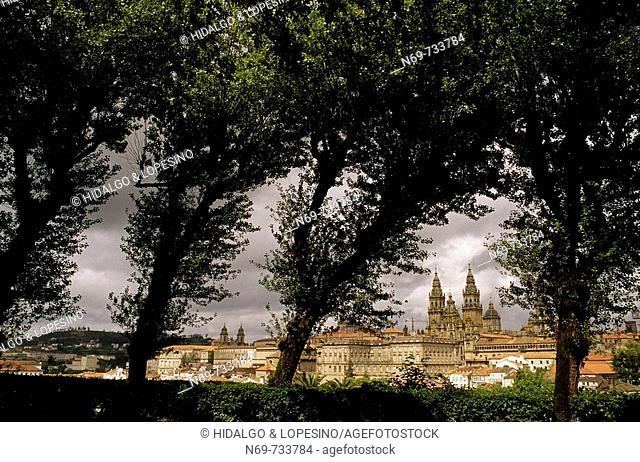 Santiago de Compostela, view from Parque de la Alameda. La Coruña province, Galicia, Spain