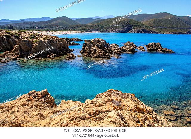 France, Corse, the reds rocks from the Ostriconi beach, Balagne