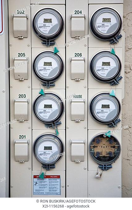 Ocala, FL - Mar 2009 - One electric power meter missing in block of eight on power distribution panel in downtown Ocala, Florida