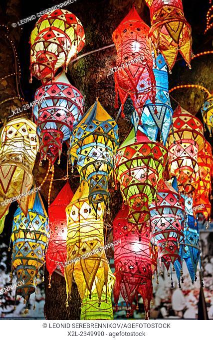 Lanterns lit at night. Kusadasi, Turkey
