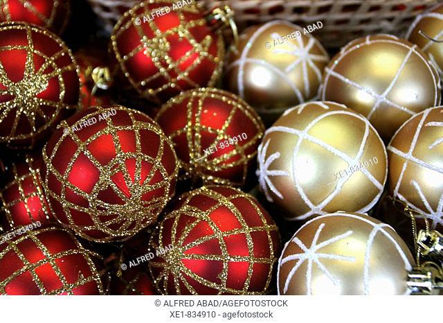 Decorative balls at Christmas market, Barcelona. Catalonia, Spain