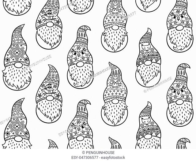 Black and white Christmas seamless pattern with gnomes in long caps. Vector seamless pattern of Scandinavian christmas traditional gnomes