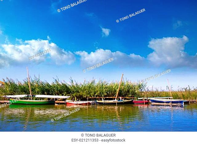 Albufera channel boats in el Palmar of Valencia