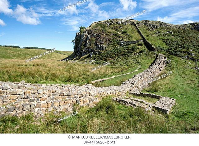 Hadrian's Wall with foundation walls of former watchtower, Haltwhistle, Northumberland, England, United Kingdom