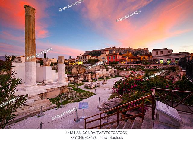 Remains of Hadrian's Library and Acropolis in the old town of Athens, Greece.