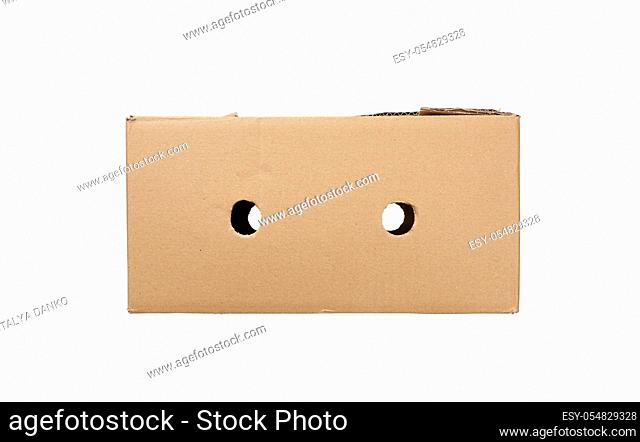 closed box made of brown corrugated cardboard isolated on a white background, top view